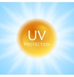 UV protection concept design with shiny sun and vector image