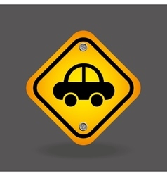 Vehicle yellow road street sign vector