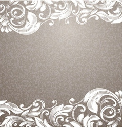 Vintage beige background with white curls vector
