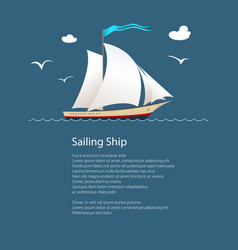 yacht at sea and text vector image