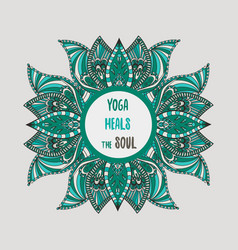 Yoga heals the soul lettering with lotus flowers vector