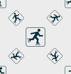 roller skating sign Seamless pattern with vector image