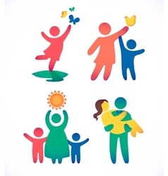 Happy family icon multicolored in simple figures vector