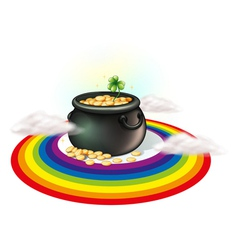 A pot of gold inside the rainbow vector