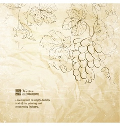 Brown wrinkled paper with grapes vector