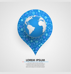 world globe with app icons sircle vector image