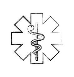 Caduceus medical shield vector