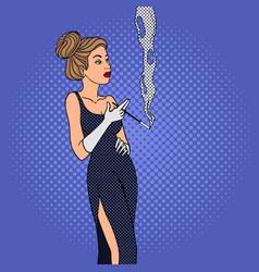 woman smokes cigarette pop art style vector image