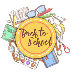Back to school hand drawn background education vector