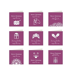 Christmas mini cards set vector