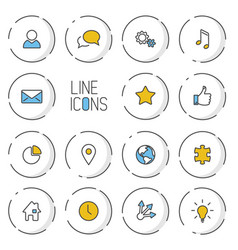 Modern circle thin line icon collection vector