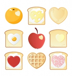 Breakfast love icons vector
