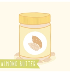 Almond butter in jar vector