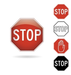 Red and black stop signs vector