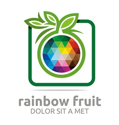 Logo rainbow fruit orange food nutrition symbol vector