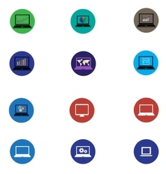 Set of icons with computers and graphics in flat vector