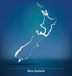 Doodle map of new zealand vector