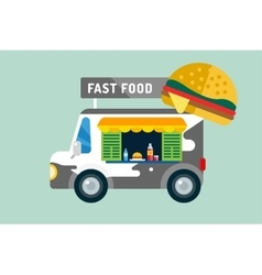 Fast food car van vector
