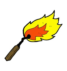 Comic cartoon burning match vector