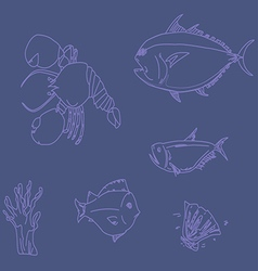 Seafood set line vector