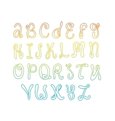 Hand drawn alphabet doodle letters set colorful vector