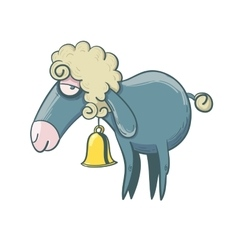 Funny little lamb with yellow bell vector