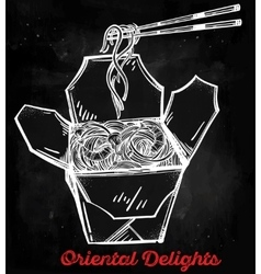 Chinese take out box with noodles chopsticks vector