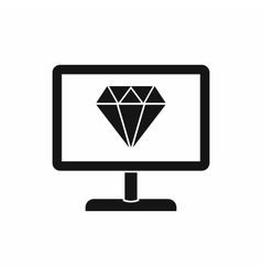 Screen with diamond icon simple style vector