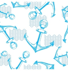 Anchors and waves Seamless pattern vector image vector image