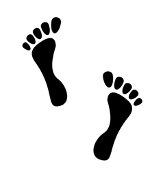 Black human footprints isolated on white vector image