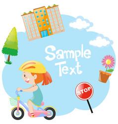 Border design with girl on bike vector