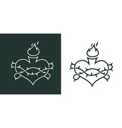 burning heart tattoo vector image vector image