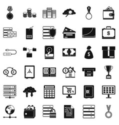 Business diagram icons set simple style vector