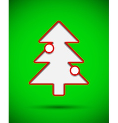 Card with cut out christmas tree with baubles vector image