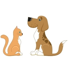 Cat and dog look at each other the best friends vector image