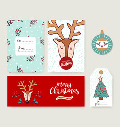 Christmas card template holiday deer cartoon set vector
