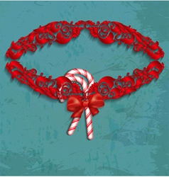 Christmas frame with candy and red bow vector image vector image