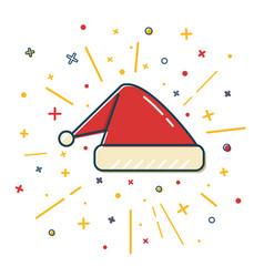 colored santa hat icon in thin line style vector image