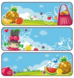 colorful fruit banners vector image