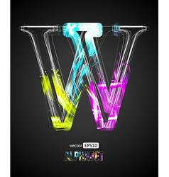 Design light effect alphabet letter w vector