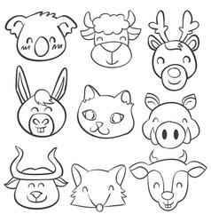 Doodle of head animal hand draw vector