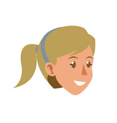 Face woman head smile ponytail blonde diadem vector