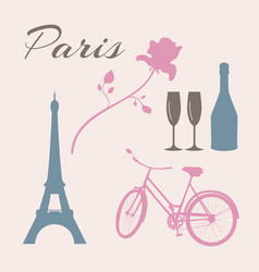 flat icon set of paris symbols vector image vector image