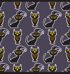 halloween black cat and owl seamless pattern vector image vector image