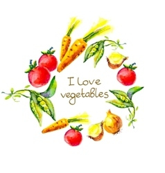 I love vegetables circle frame watercolor vector image vector image