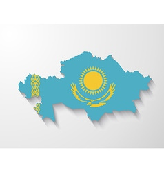 Kazakhstan country map with shadow effect vector image vector image