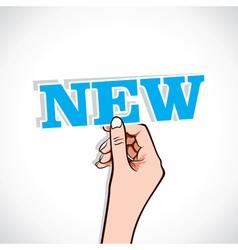 new sticker in hand vector image