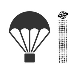 Parachute icon with job bonus vector