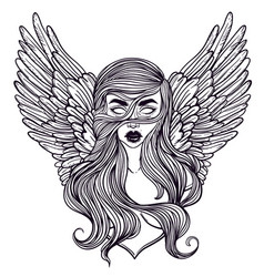 Scandinavian goddess valkyrie with wings zombie vector