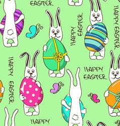 Seamless pattern of bunny rabbits holding easter vector